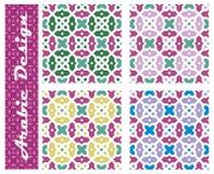 Samling av seamless arabiska blom- prydnadar Royaltyfria Bilder