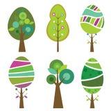 Samling av sex gulliga och färgrika trees, vektorillustration. Royaltyfri Fotografi