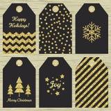 Samling av sex julgåvaetiketter Royaltyfri Bild