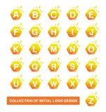 Samling av sexhörningssymbolet Modern initial logodesignmall royaltyfri illustrationer