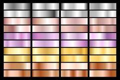 Samling av silver, krom, guld, rosa guld metallisk och ultraviolett lutning för brons också vektor för coreldrawillustration stock illustrationer