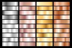 Samling av silver, krom, guld, rosa guld och den metalliska lutningen för brons också vektor för coreldrawillustration vektor illustrationer