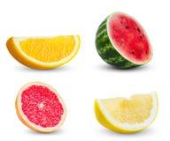 Samling av skivor apelsin, vattenmelon som är röd Arkivfoton