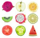 Samling av skivor för ny frukt och grönsak Fotografering för Bildbyråer