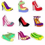 Samling av skor för färgmodekvinna Fotografering för Bildbyråer