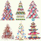 Samling av skraj julgranar för vektor stock illustrationer