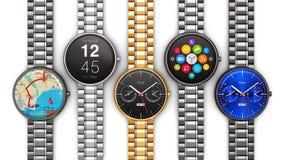 Samling av smarta klockor för lyx Royaltyfri Foto