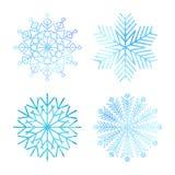 Samling av snöflingor i vattenfärgstil Arkivbild