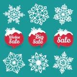 Samling av snöflingor och försäljningsvinterrabatten Royaltyfria Foton