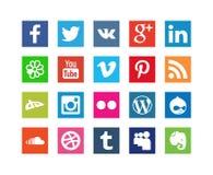 Samling av sociala massmediasymboler för stil Arkivfoto