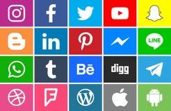 Samling av sociala nätverkssymboler royaltyfri illustrationer