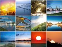 Samling av solnedgånglandskap Arkivfoton