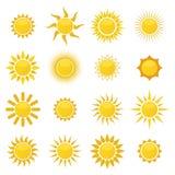 Samling av solsymboler Royaltyfria Bilder