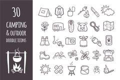 Samling av 30 som campar, och fotvandra symboler Fotografering för Bildbyråer