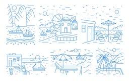 Samling av sommarlandskap med havet eller havet, berg och att segla yachter och badorten som dras med konturlinjer royaltyfri illustrationer