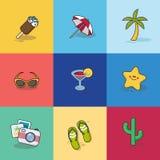 Samling av sommarsymboler i plan design stock illustrationer