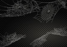 Samling av spindelnätet som isoleras på svart, genomskinlig bakgrund royaltyfri illustrationer