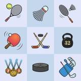 Samling av sportsymboler Arkivbilder