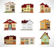 Samling av stads- hus Arkivfoto