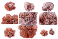 Samling av stenmineral Aragonite Arkivfoto