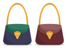 Samling av stilfulla färgrika läderhandväskor med vitt sy Påsar för trendiga kvinnor som s isoleras på vit bakgrund Vecto vektor illustrationer
