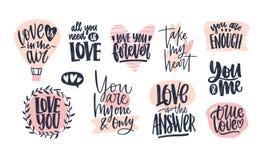 Samling av stilfullt märka för dag för valentin` som s är handskrivet med den eleganta kursiva stilsorten Romantiska uttryck, slo royaltyfri illustrationer