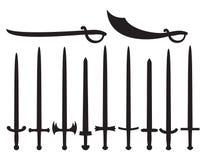 Samling av svärd och sabers Royaltyfria Bilder