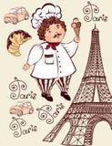 Samling av symboler av Paris. Arkivfoto