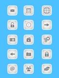 Samling av symboler för mobila applikationer och rengöringsduk i ljus - grå färger planlägger Arkivbilder