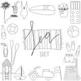 Samling av symboler för vektorlägenhetsommar Arkivfoto