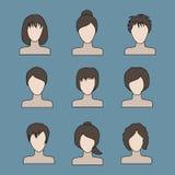 Samling av symboler av kvinnan i en plan stil Kvinnliga avatars Se Royaltyfria Foton
