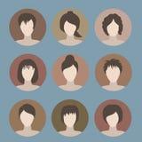 Samling av symboler av kvinnan i en plan stil Kvinnliga avatars Se Royaltyfri Foto