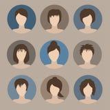 Samling av symboler av kvinnan i en plan stil Kvinnliga avatars Se Arkivfoto