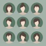 Samling av symboler av kvinnan i en plan stil Kvinnliga avatars Se Royaltyfria Bilder