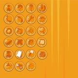 Samling av symbolsmenyn som används i telefonen - guld- färg Royaltyfri Foto