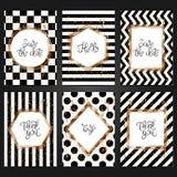 Samling av 6 tappningkortmallar i svartvit färg royaltyfri illustrationer