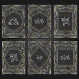 Samling av 6 tappningkortmallar med den geometriska ramen Royaltyfri Foto