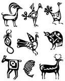 Samling av tatueringar av djur Fotografering för Bildbyråer