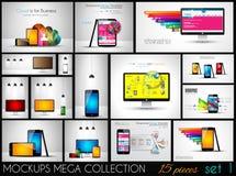 Samling av telefon, PC och minnestavlamodeller med infographics royaltyfri illustrationer
