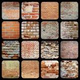 Samling av texturer för tegelstenvägg Fotografering för Bildbyråer