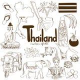 Samling av Thailand symboler Arkivfoton