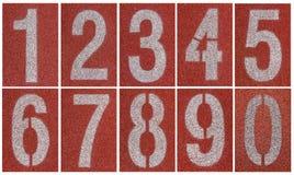 Samling av 0 till 9, nummer på rinnande spår Royaltyfri Foto