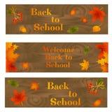Samling av tillbaka till skolabakgrunder med sidor, bär, ekollonar och text stock illustrationer