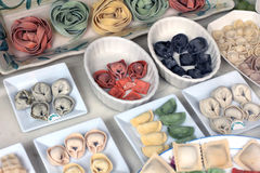 Samling av torkad pasta Arkivbilder