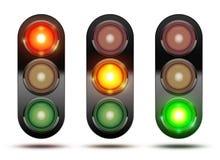 Samling av trafikljus som visar följden av hur ligen Stock Illustrationer