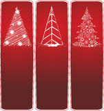 Samling av tre julbaner Arkivbilder