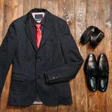 Samling av trendig affärskläder för män Arkivfoto