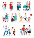 Samling av unga familjer Unga par Tecknad filmfolket som förväntar, behandla som ett barn fött gravid kvinna Begrepp av barnuppfo vektor illustrationer