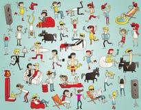 Samling av ungdomarsom har gyckel () stock illustrationer