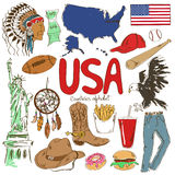 Samling av USA symboler Arkivfoto